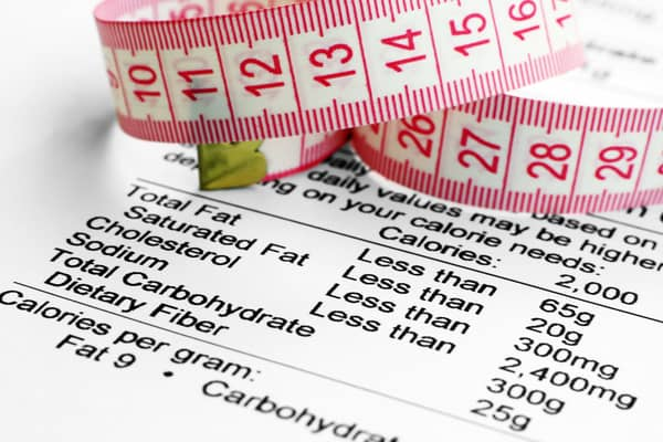 An image of a paper showing nutritional content. On top of the paper is a measuring tape.